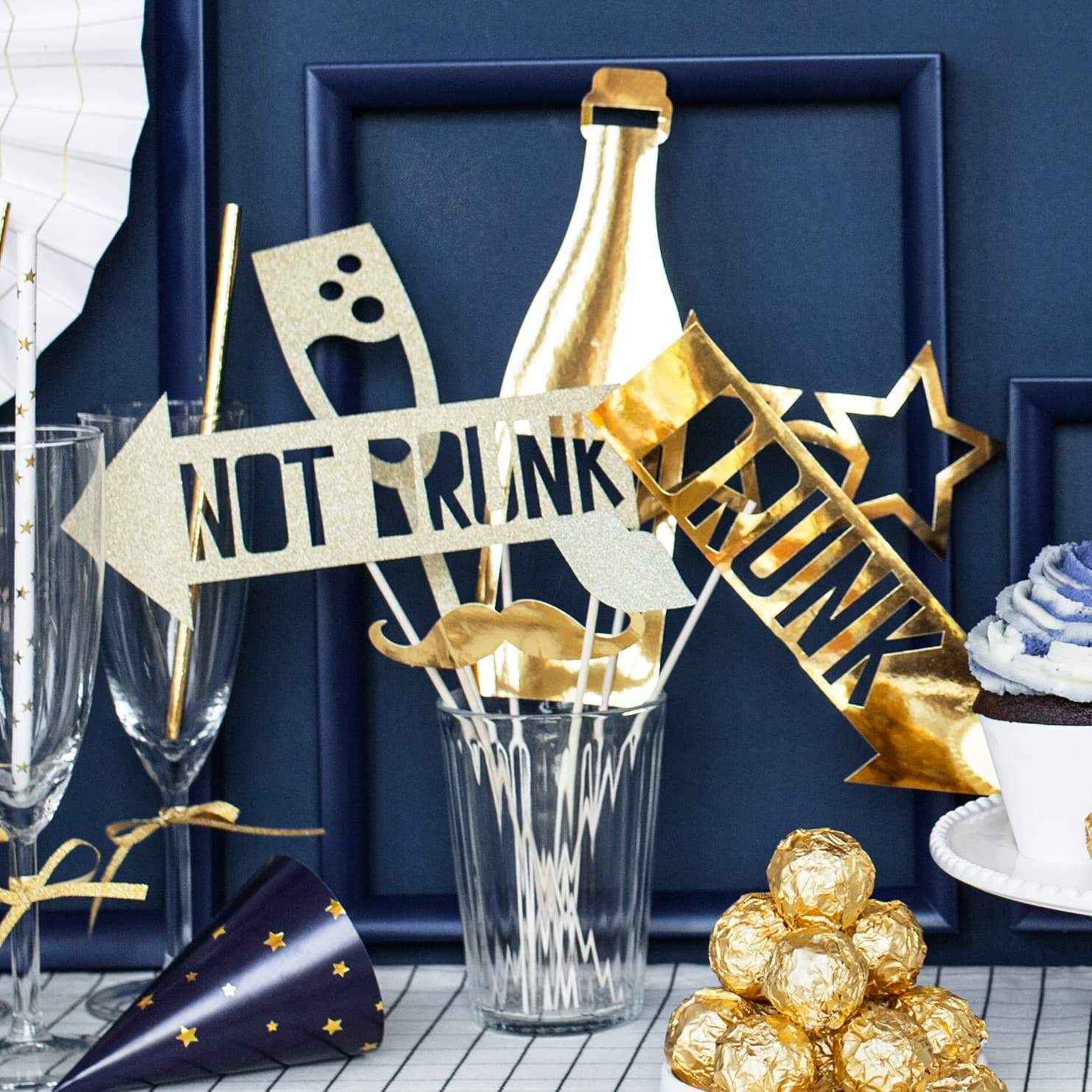 Lets Celebrate Gold Photo Props I New Year's Eve Party Supplies I UK
