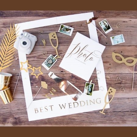 Lets Celebrate Gold Photo Props I Wedding Party Props I UK