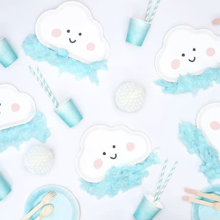 Pale Blue and White Straws I Blue Baby Shower Supplies I UK