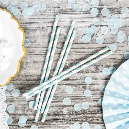 Pale Blue and White Straws I 1st Birthday Party Supplies I UK