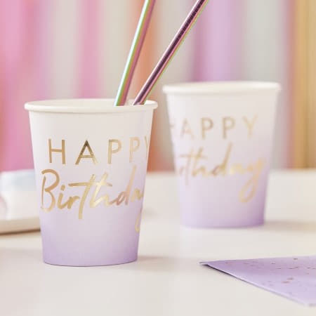 Lilac Ombre and Gold Foil Cups I Modern Party Tableware I My Dream Party Shop UK