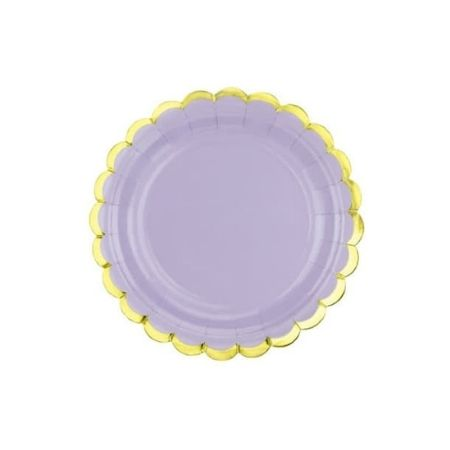 Small Pastel Lilac Plates with Gold Scalloped Edge I Pastel Party Supplies I My Dream Party Shop UK