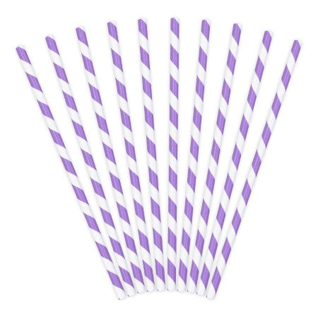 Purple and White Striped Paper Drinking Straws I My Dream Party Shop I UK
