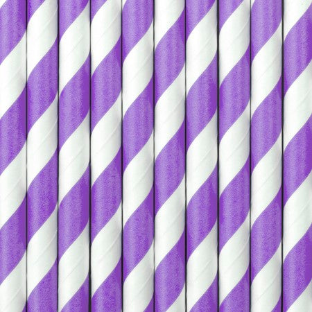 Purple and White Striped Paper Straws I Cool Paper Party Straws I My Dream Party Shop UK