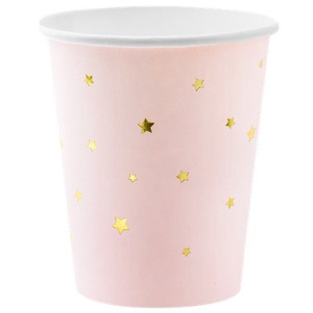 Pastel Pink Cups with Gold Stars I Modern Pink Tableware I My Dream Party Shop