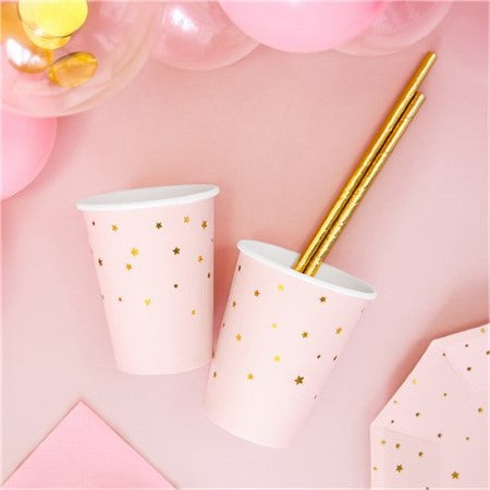 Pastel Pink Cups with Gold Stars I Pretty Pink Tableware I My Dream Party Shop