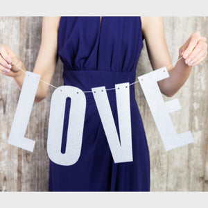 "Silver Glitter ""Love"" Banner Garland I My Dream Party Shop I UK"
