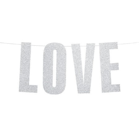 "Silver Glitter ""Love"" Banner I My Dream Party Shop I UK"