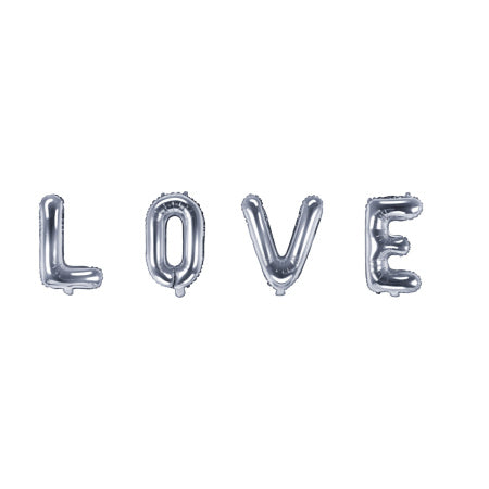 """LOVE"" Silver Balloon Bunting I Wedding, Engagement & Hen Decor I My Dream Party Shop I UK"