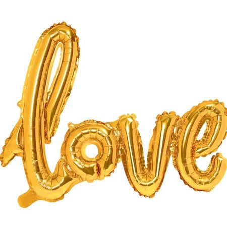 Love Giant Gold Foil Phrase Balloon I Wedding or Hen Party Balloons I My Dream Party Shop I UK