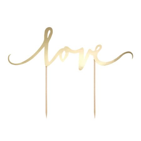 """Love"" Gold Mirror Card Cake Topper I Wedding Cake Decoration I My Dream Party Shop I UK"