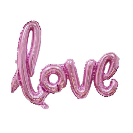 """Love"" Giant Pink Foil Phrase Balloon I Wedding & Engagement Balloons & Decorations I My Dream Party Shop  I UK"