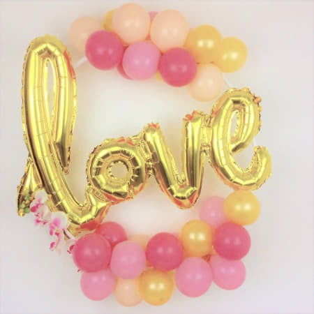 Pink, Gold and Blush Love Balloon Hoop Decoration Kit I Wedding, Hen Party, Anniversary or Engagement Party Decorations I My Dream Party Shop I UK