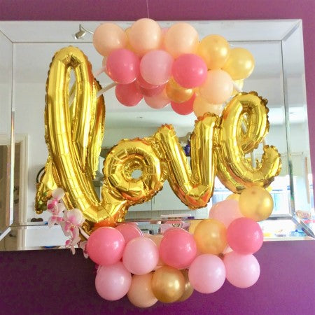 Pink, Gold and Blush Love Balloon Hoop Decoration Kit I Wedding, Anniversary or Engagement Decorations I My Dream Party Shop I UK