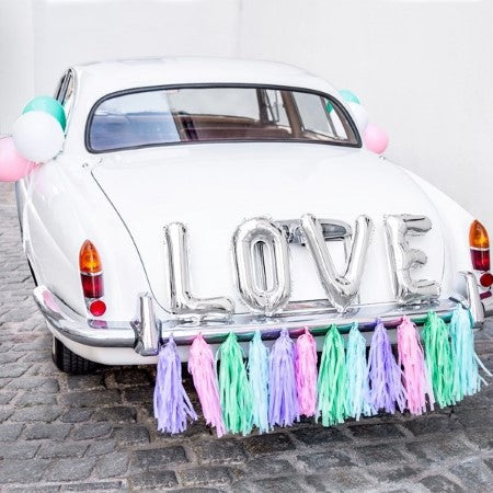 LOVE Balloon Bunting in Silver Foil I Wedding, Engagement & Hen Decor I My Dream Party Shop I UK