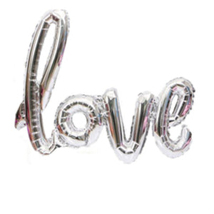 """Love"" Giant Silver Foil Phrase Balloon I Wedding & Engagement Balloons I My Dream Party Shop I UK"