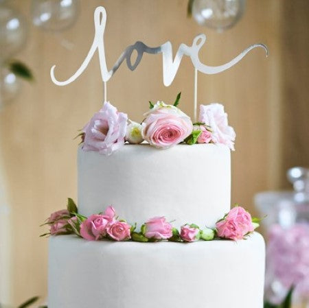 """Love"" Silver Mirror Cake Topper I Wedding and Engagement Cake Decoration I My Dream Party Shop I UK"