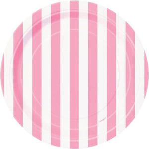 Pink and White Candy Striped 7 inch Round Paper Plates - My Dream Party Shop