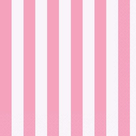 Stripey Pink and White Party Napkins - Pack of 16 - My Dream Party Shop