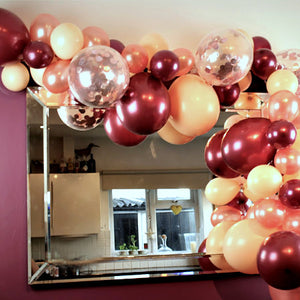 Maroon and Rose Gold Balloon Garland Cloud Kit