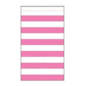 Medium Pink Striped Paper Treat Bags 15pk - My Dream Party Shop