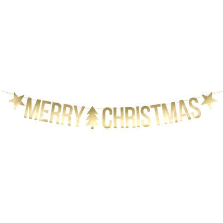 Merry Christmas Gold Foil Banner I Christmas Party Decoration I My Dream Party Shop I UK