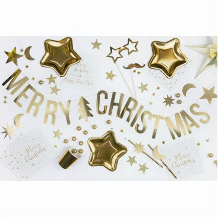 Merry Christmas Gold Foil Banner - My Dream Party Shop