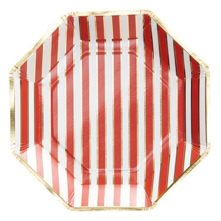 Merry and Bright Red and Gold Striped Plates I Red Party Tableware I UK