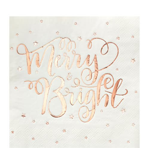 Merry and Bright Rose Gold Christmas Napkins I Christmas Party Tableware I UK