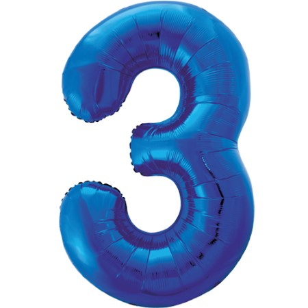 Gigantic Blue Foil Number 3 Balloon, 34 Inches I My Dream Party Shop