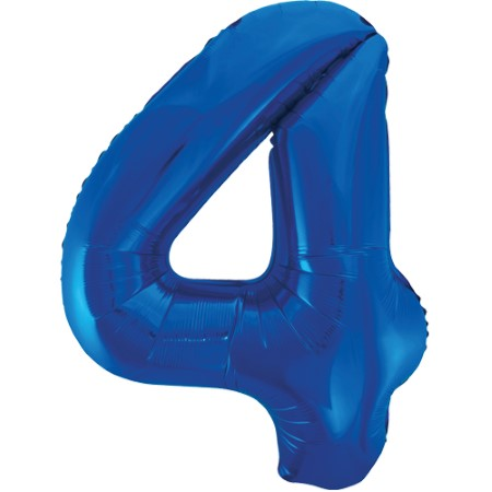 Gigantic Blue Foil Number 4 Balloon, 34 Inches I My Dream Party Shop