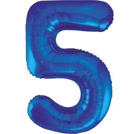 Gigantic Blue Foil Number 5 Balloon, 34 Inches I My Dream Party Shop
