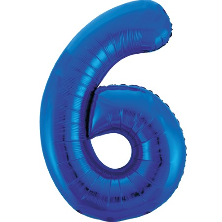 Gigantic Blue Foil Number 6 Balloon, 34 Inches I My Dream Party Shop