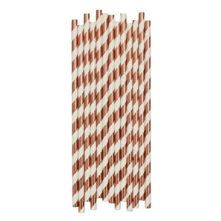 Metallic Rose Gold Striped Paper Straws I Rose Gold Party Supplies I My Dream Party Shop UK