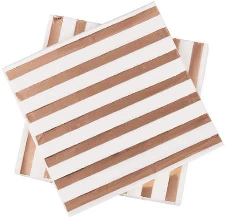 Metallic Rose Gold and White Stripe Napkins I Rose Gold Party Tableware I UK