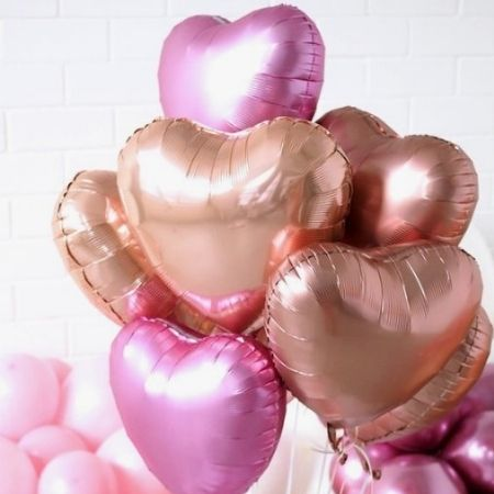 Mid Pink and Rose Gold Heart Balloon Cluster I Valentines Balloons I My Dream Party Shop
