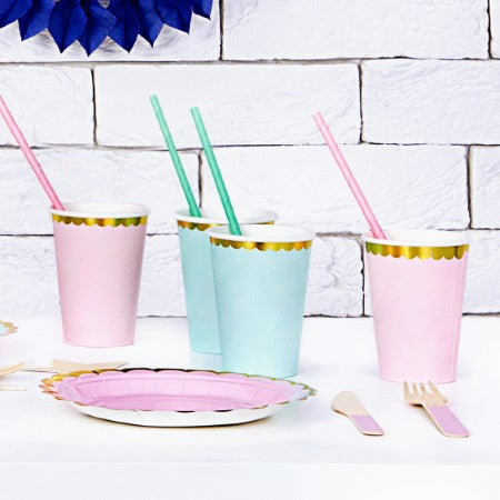 Mint Green Cups with Gold Rim I Modern Party Tableware I My Dream Party Shop I UK