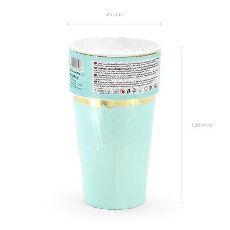 Mint Paper Cups with Gold Metallic Edge I My Dream Party Shop I UK