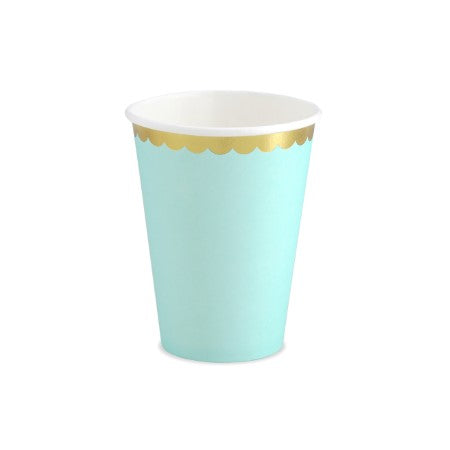 Mint Green Paper Cups with Gold Metallic Edge I My Dream Party Shop I UK