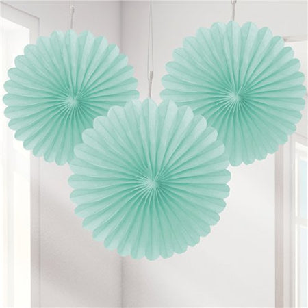 Mini Mint Tissue Paper Rosette Fan Decorations, Set of 3 - My Dream Party Shop