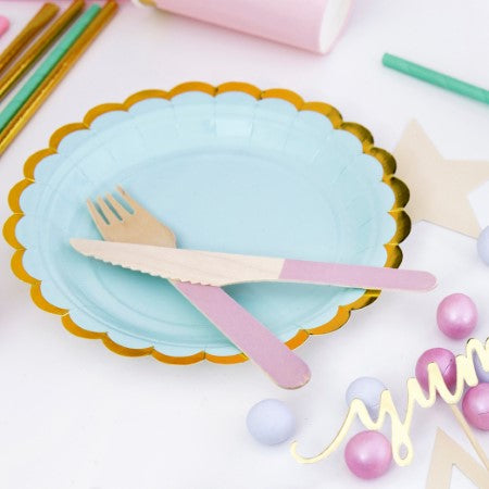 Mint Green Plates with Gold Scalloped Edge I My Dream Party Shop I UK