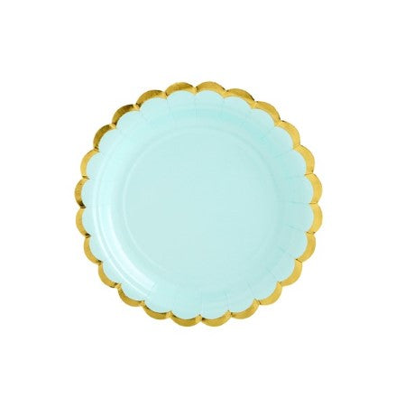 Small Mint Green Plates with Gold Scalloped Edge I My Dream Party Shop I UK
