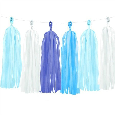Blue and White Tassel Garland I Modern Party Decorations I My Dream Party Shop I UK