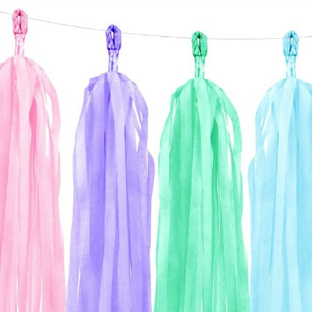 Pastel Mixed Tissue Tassel Garland I Stunning Pastel Decorations I My Dream Party Shop I UK