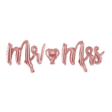 """Mr and Mrs"" Rose Gold Foil Phrase Balloon Bunting I Modern Wedding Balloons I My Dream Party Shop I UK"