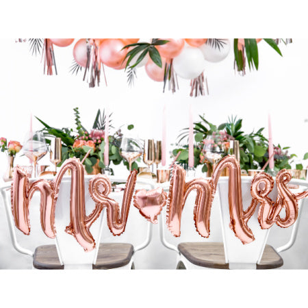"""Mr and Mrs"" Rose Gold Foil Phrase Balloon Bunting I Stylish, Modern Wedding Balloons and Decorations I  I My Dream Party Shop I UK"