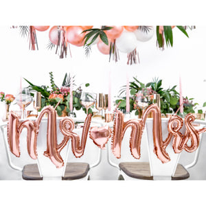 """Mr and Mrs"" Rose Gold Foil Phrase Balloon Bunting I My Dream Party Shop I UK"