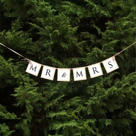Mr and Mrs Wedding Bunting I Cool, Modern Wedding Decorations, Balloons and Accessories I My Dream Party Shop I UK