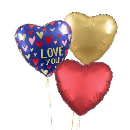 Navy, Red and Gold Love You Balloon Cluster I Helium Balloons Ruislip