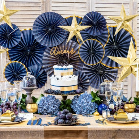 Luxury Navy and Gold Rosette Fans I Navy Party Decorations I UK